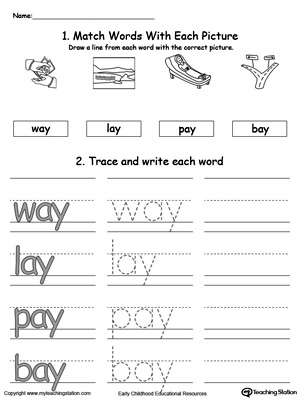 Worksheets Word Family Ay kindergarten printable worksheets myteachingstation com ay word family connect trace and write