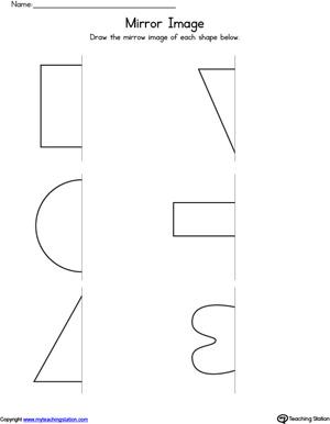 Basic Shapes Mirror Image Worksheet | MyTeachingStation.com