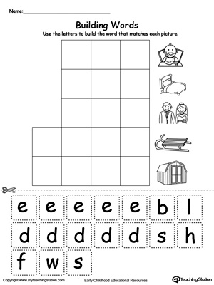 preschool building words printable worksheets. Black Bedroom Furniture Sets. Home Design Ideas