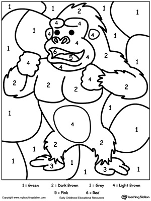 color by number gorilla - Coloring Worksheets