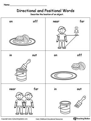 math worksheet : directional and positional words kindergarten worksheets  : Language Worksheet For Kindergarten