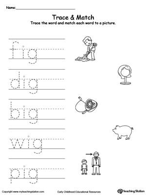 Word tracing worksheets for kindergarten
