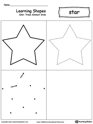 learning shapes color trace connect and draw a star. Black Bedroom Furniture Sets. Home Design Ideas