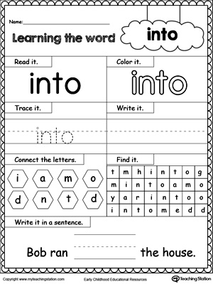 Learning Sight Word INTO | MyTeachingStation.com