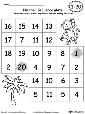 Free Worksheets preschool number tracing worksheets 1-20 : Early Childhood Numbers Worksheets   MyTeachingStation.com