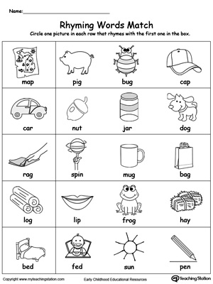 Printables Words That Rhyme For Kindergarten rhyming words for kindergarten worksheets scalien free scalien