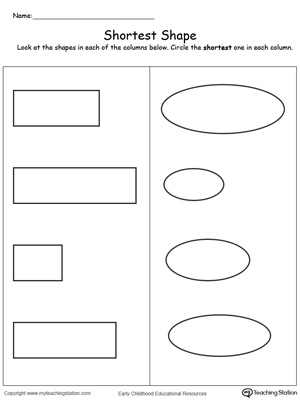 math worksheet : long and short objects worksheets for kindergarten  practical  : Short I Worksheets For Kindergarten