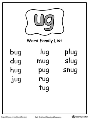 UG Word Family Workbook for Kindergarten | MyTeachingStation.com