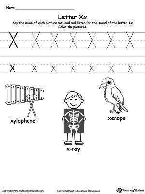 Letter X Printable Alphabet Flash Cards For Preschoolers