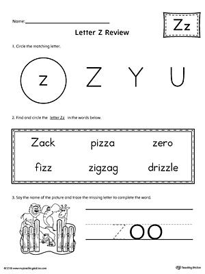 Common Worksheets » Letter Z Worksheets For Kindergarten ...