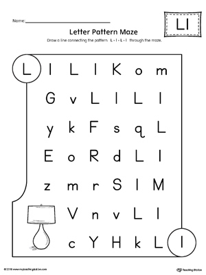 Free Worksheets The Letter L Math