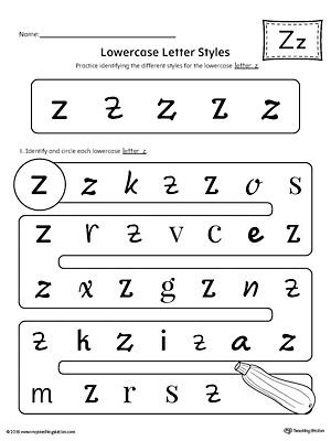 Number Names Worksheets : letter z worksheets for kindergarten ...