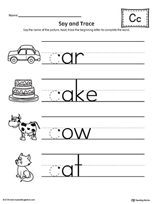 Free Worksheets Printable Letter C Math For Kidergarten And
