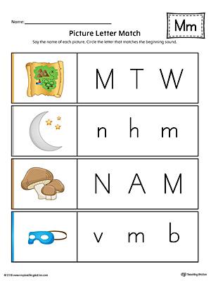 letter m words and pictures printable cards mailbox mug mushroom milk color. Black Bedroom Furniture Sets. Home Design Ideas
