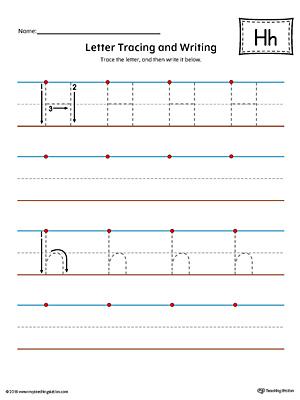 letter h tracing and writing printable worksheet color. Black Bedroom Furniture Sets. Home Design Ideas